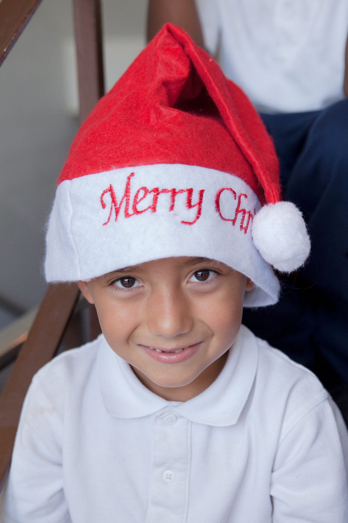 Student in Christmas Hat