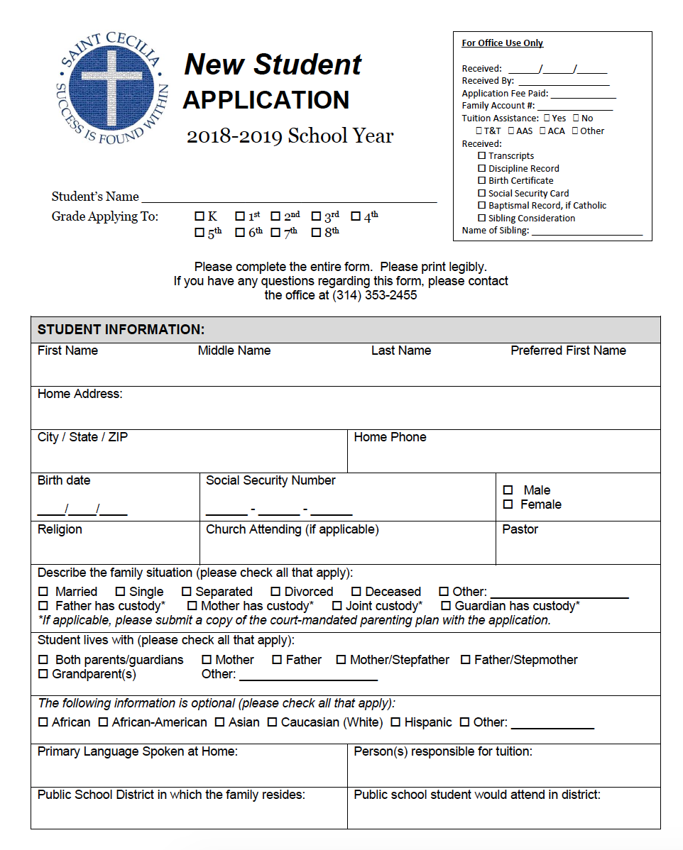 St. Cecilia New Student Application