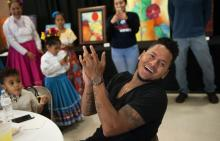 St. Louis Cardinals starting pitcher Carlos Martinez joins the festivities during the St. Cecilia Cinco de Mayo Fiesta at St. Cecilia School and Academy in St. Louis Thursday, May 5, 2016. The event was a fundraiser for the school. Photo by Sid Hastings